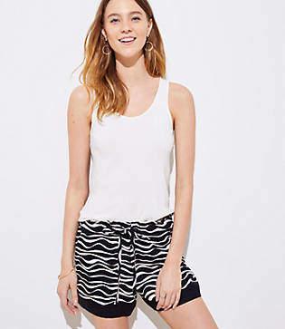 LOFT Zebra Tie Waist Shorts