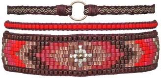 LeJu London - Handwoven Bracelet Set In Red Tones
