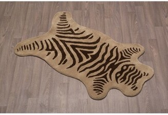 Bloomsbury Market Topher Zebra Hand-Tufted Wool Olive Brown Area Rug Bloomsbury Market