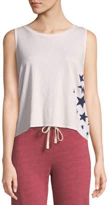 Sundry Star-Print Tie-Back Cotton Tank