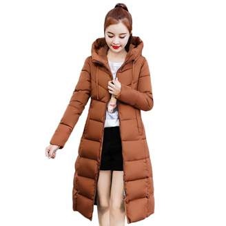 Pervobs Women Parkas&Down Jacket Pervobs Clearance Sale! Women Winter Elegant Slim Down Jackets Warm Thicken Padded Coat Hooded Long Parka Jackets Coat