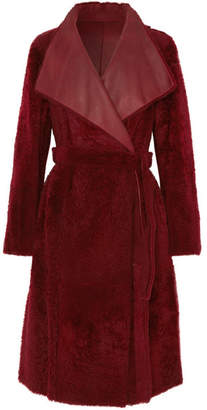 Yves Salomon Lacon Reversible Shearling Coat - Burgundy