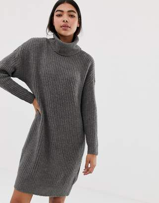Only roll neck knitted mini sweater dress in gray