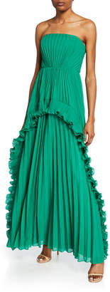 Halston Strapless Pleated Gown with Ruffles