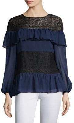 BCBGMAXAZRIA Ruffles& Lace Silk Blouse