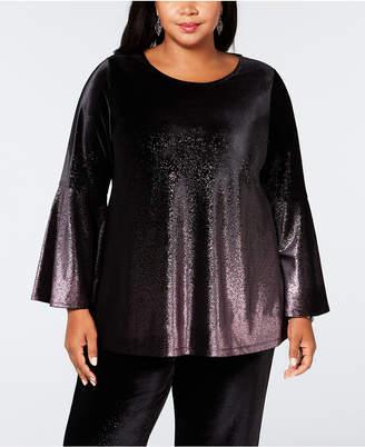 Alfani Plus Size Metallic Velvet Top