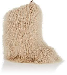 Saint Laurent Women's Booly Fur Ankle Boots-Cream