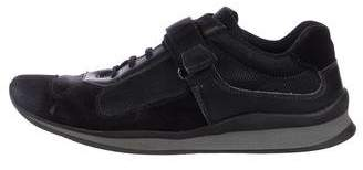 Prada Sport Leather and Mesh Low-Top Sneakers