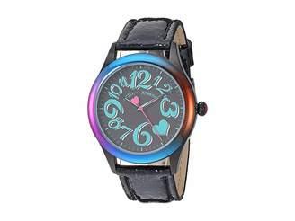 Betsey Johnson BJ00701-02 - Rainbow Case Black Strap Watch