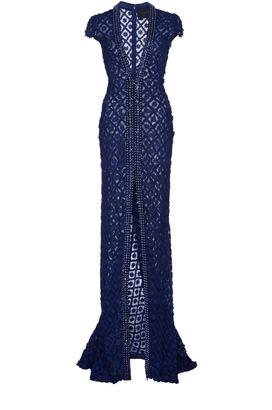 Costarellos Front Split V-Neck Dress