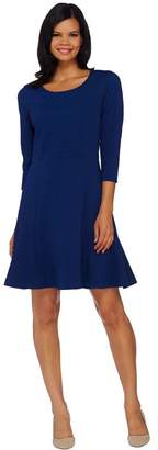 Isaac Mizrahi Live! Textured Knit Fluted Hem Dress