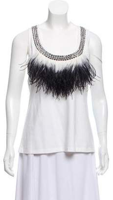 Givenchy Ostrich Feathered And Embellished Top
