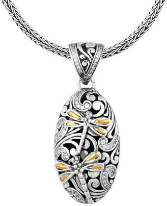 "Sweet Dragonfly Classic Sterling Silver Pendant Necklace embellished by 18K Gold Accents on 4 strips of Dragonfly Wings and White Cubic Zirconia, 20"" Length"