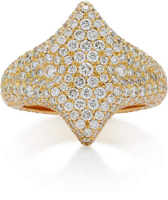 Adina Ilana Ariel 18K Gold Diamond Signet Ring