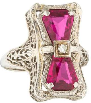 Ring 14K Synthetic Ruby and Diamond Vintage Filigree