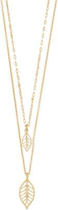Lauren Conrad Double Leaf Pendant Necklace