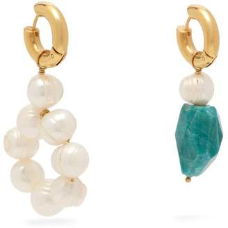 Timeless Pearly - Mismatched Pearl And Bead Drop Earrings - Womens - Black
