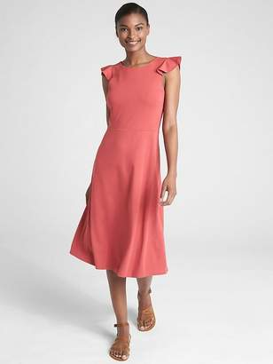 Gap Sleeveless Ruffle A-Line Dress in Ponte