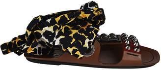 Prada Leopard Print Flat Sandals