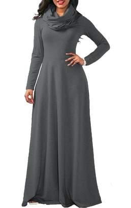 Yacun Women Casual Long Sleeve Cowl Neck Long Maxi Winter Swing Dress M