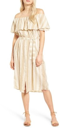 Women's Faithfull The Brand Majorca Stripe Off The Shoulder Dress $155 thestylecure.com