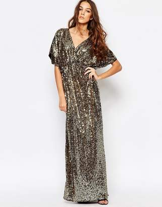 First & I Sequin Kimono Sleeve Maxi Dress $83 thestylecure.com