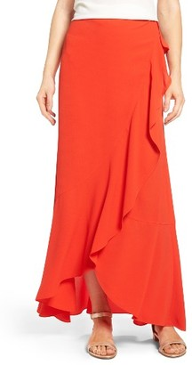 Women's Vince Camuto Faux Wrap Ruffled Maxi Skirt $89 thestylecure.com