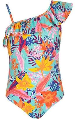 River Island Girls blue tropical print frill swimsuit