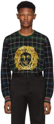 Versace Green Plaid Medusa Sweater