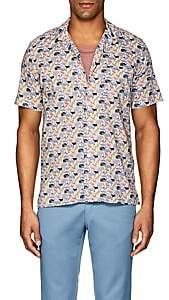 Hartford Men's Animal-Print Cotton Poplin Shirt