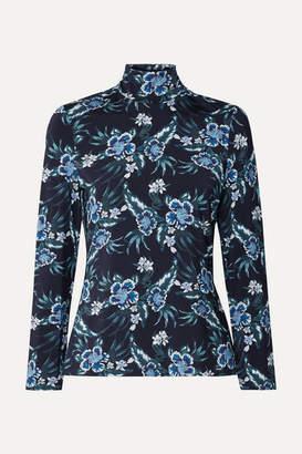 Altuzarra Knight Floral-print Stretch-jersey Turtleneck Top - Blue
