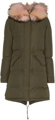 Mr & Mrs Italy puffer coat with pink shearling collar