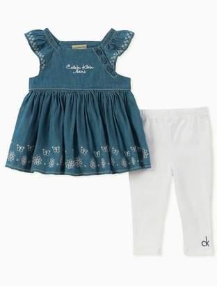 Calvin Klein girls denim logo top + white pants