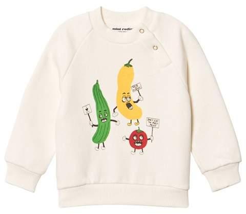White Veggie Print Sweatshirt