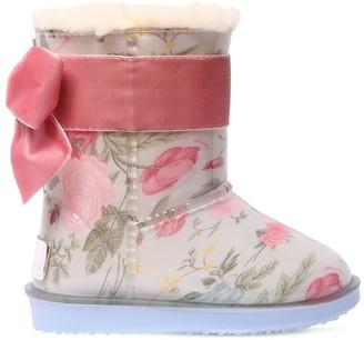 MonnaLisa Floral Print Rubber Boots W/ Velvet Bow