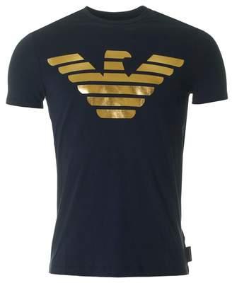 Giorgio Armani Metallic Eagle Logo Slim Fit T-shirt
