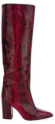 Paris Texas Women's Python-Print Leather Point-Toe Tall Boots