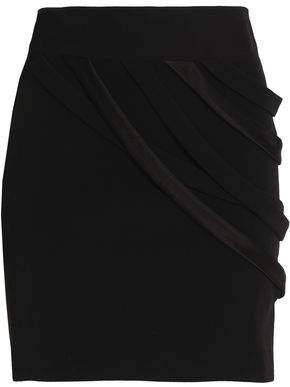Halston Draped Satin-Trimmed Crepe Mini Skirt