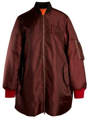 Calvin Klein Oversized Logo Embroidered Twill Bomber Jacket - Womens - Burgundy