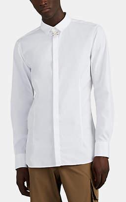 Neil Barrett Men's Piercing-Detailed Cotton-Blend Dress Shirt - White