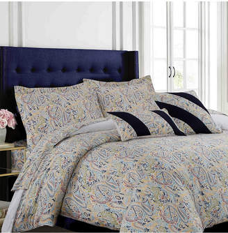 Tribeca Living Fiji 300 Thread Count Cotton Oversized King Duvet Cover Set Bedding