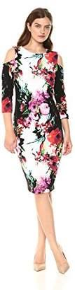 Jax Women's Cold Shoulder Floral Print Midi Sheath