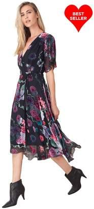 Hale Bob Marguerite Silk Burnout Wrap Dress
