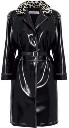 Philosophy di Lorenzo Serafini Printed Calf Hair-Trimmed Glossed Faux Leather Coat
