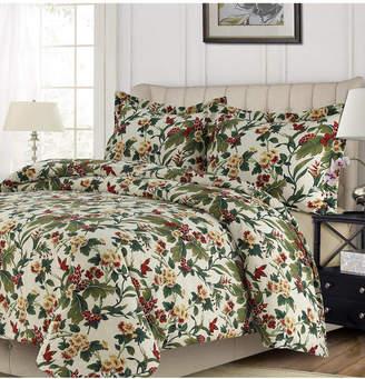 Tribeca Living Madrid Printed Tropical Garden Oversized Queen Duvet Cover Set Bedding