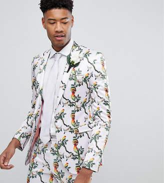 Asos Design Tall Super Skinny Blazer With Pink Bird Print
