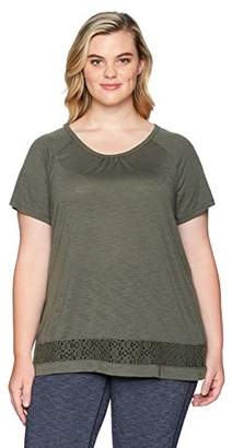 Just My Size Women's Plus Size Lace Panel Short Sleeve Top
