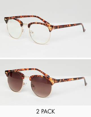 clear ASOS DESIGN 2 pack retro sunglasses in tort with lens & brown grad lens