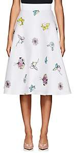 Thom Browne WOMEN'S FLORAL-EMBROIDERED MESH CIRCLE SKIRT - WHITE SIZE 40 IT