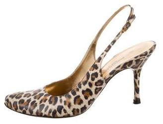 Dolce & Gabbana Printed Pointed-Toe Slingback Pumps